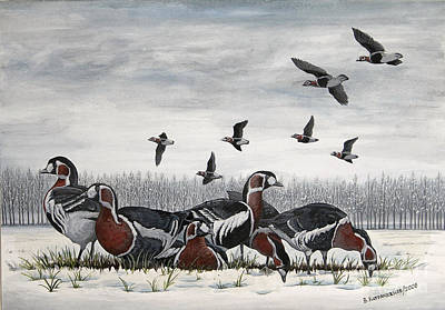 Snow Geese Painting - A Quiet Winter Day by Valentin Katrandzhiev
