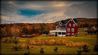 A Red Farmhouse In A Fallscape Print by Chantal PhotoPix