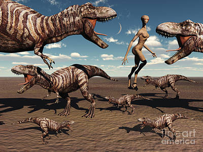 Companion Digital Art - A Reptoid Being And Her Pet Dinosaurs by Mark Stevenson