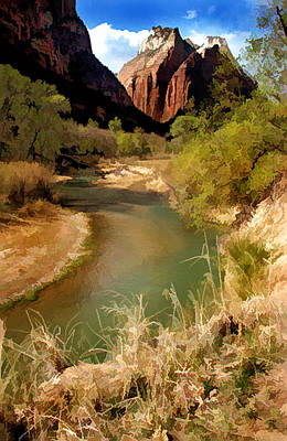 A River Runs Through Zion Print by Elaine Plesser