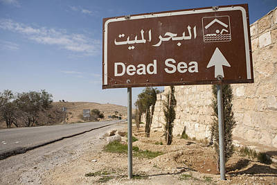 A Road Sign In Both Arabic And English Print by Taylor S. Kennedy