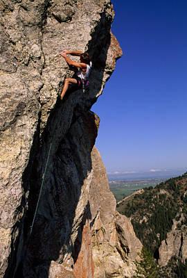 A Rock Climber On Mean Streak Print by Gordon Wiltsie