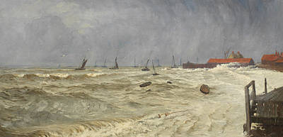Deep Blue Painting - A Rough Day At Leigh by William Pye