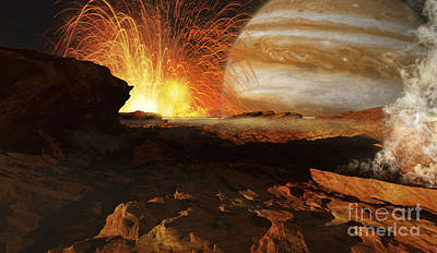 A Scene On Jupiters Moon, Io, The Most Print by Ron Miller