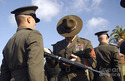 A Senior Drill Instructor Inspects Print by Stocktrek Images