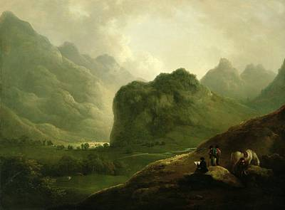 Caesar Painting - A Sketching Party In The Pass At Borrowdale by Julius Caesar Ibbetson