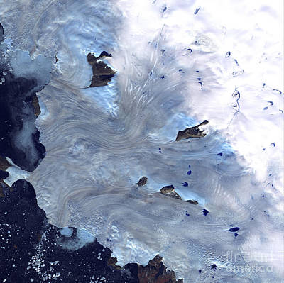 Landmass Photograph - A Small Field Of Glaciers Surrounds by Stocktrek Images