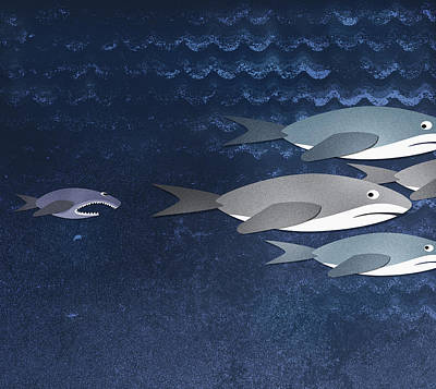 A Small Fish Chasing Three Sharks Print by Jutta Kuss