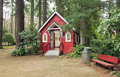 A Small Red Chapel In A Forest Portland Or. Print by Gino Rigucci
