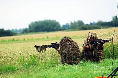 A Sniper Unit Of The Paracommandos Print by Luc De Jaeger
