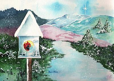 Cardinals In Watercolor Painting - A Snowy Cardinal Day - Christmas Card by Sharon Mick