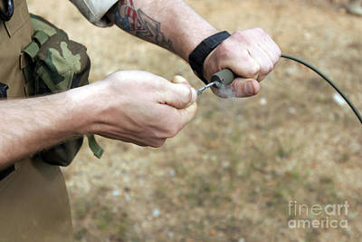 A Soldier Pulls A Detonation Cord Print by Stocktrek Images