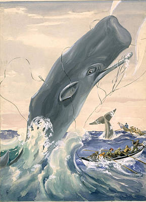 A Sperm Whale Leaps After Being Struck Print by Else Bostelmann