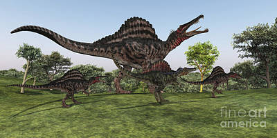 Caring Mother Digital Art - A Spinosaurus Mother Walks by Corey Ford