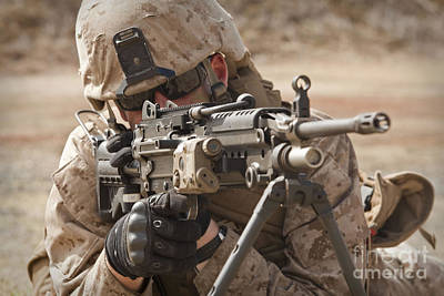 A Squad Automatic Weapon Gunner Print by Stocktrek Images