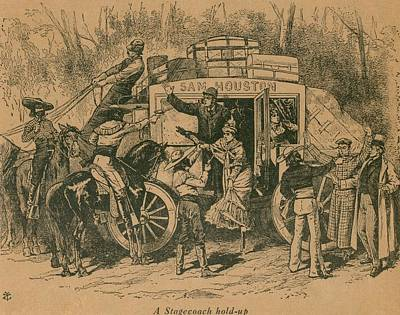A Stagecoach Holdup. Illustration Print by Everett