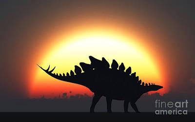 A Stegosaurus Silhouetted Print by Mark Stevenson