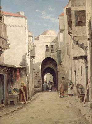 A Street In Jerusalem Print by Percy Robert Craft