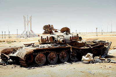 A T-80 Tank Destroyed By Nato Forces Print by Andrew Chittock