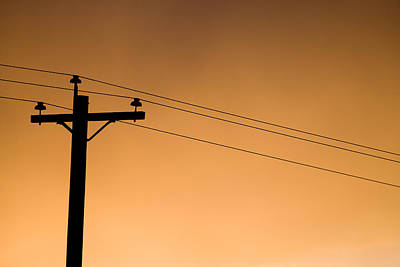 Telephone Poles Photograph - A Telephone Pole At Sunset by Pete Ryan