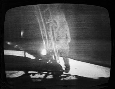 A Televised View Of The Apollo 11 Print by Rex A. Stucky