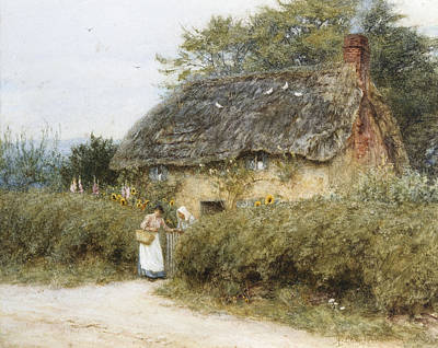 Surrey Painting - A Thatched Cottage Near Peaslake Surrey by Helen Allingham