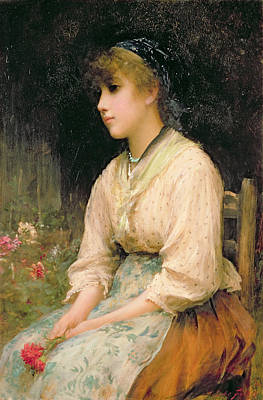 Contemplative Painting - A Venetian Flower Girl by Sir Samuel Luke Fildes