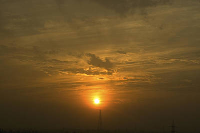 Red Photograph - A Very Bright Sunset Over Some Electric Pillars by Ashish Agarwal