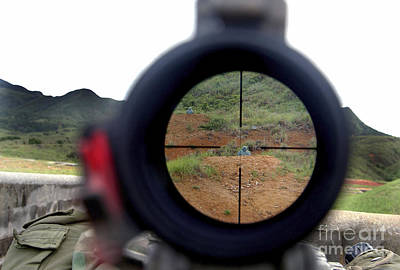Telescopic Image Photograph - A View Looking Down Range On Target by Stocktrek Images