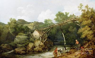 Rickety Bridge Painting - A View Near Matlock by Philip James Loutherbourg