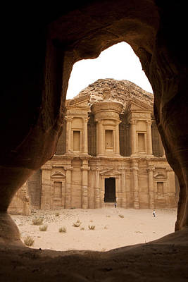A View Of The Monastary In Petra Print by Taylor S. Kennedy