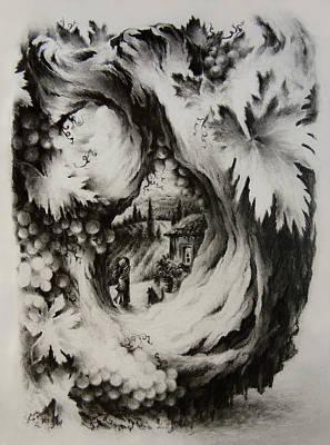 Grape Vines Drawing - A Vintage Romance by Rachel Christine Nowicki