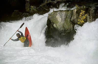 White Salmon River Photograph - A Whitewater Kayaker Plays At The Base by Skip Brown