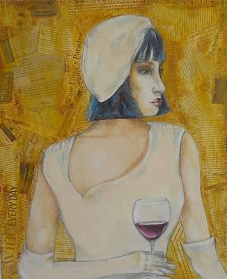 Women Tasting Wine Painting - A Wine Tasting Evening by MaryAnn Ceballos