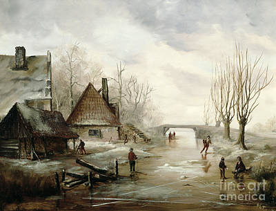 Playing Painting - A Winter Landscape With Figures Skating by Dutch School