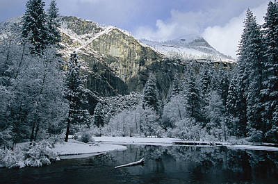 A Winter View Of The Merced River Print by Marc Moritsch