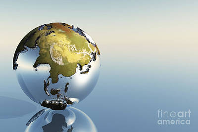 A World Globe Showing The Continents Print by Corey Ford