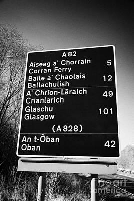 A82 Bi-lingual Scottish Gaelic English Roadsign Scotland Uk Print by Joe Fox