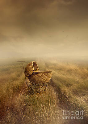 Abandoned Antique Baby Carriage In Field Print by Sandra Cunningham