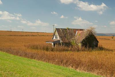 Homesickness Photograph - Abandoned Farmhouse In Field 1 by Douglas Barnett
