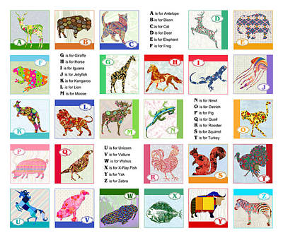 Education Painting - Abc Animal Alphabet by Elaine Plesser