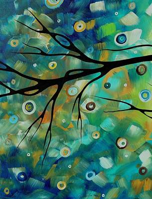 Abstract Art Original Landscape Painting Colorful Circles Morning Blues II By Madart Print by Megan Duncanson
