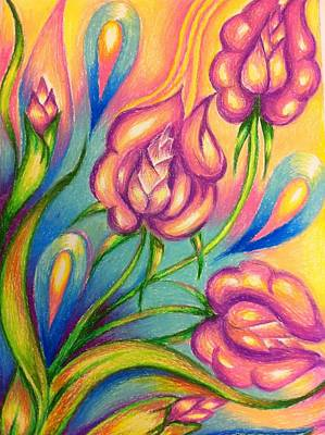 Abstract Drawings Flowers Original by Natasha Russu