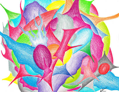 Lime Drawing - Abstract Flower by Jera Sky