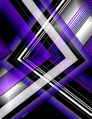 Line Digital Art - Abstract Geometry With Purple And White Lines by Mario Perez