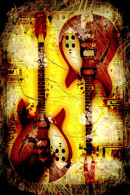 Abstract Grunge Guitars Print by David G Paul