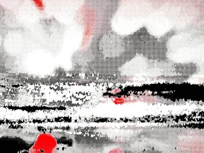 Abstract Seascape -- Black White Red Print by Brian D Meredith