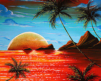 Colorful Art Painting - Abstract Surreal Tropical Coastal Art Original Painting Tropical Fusion By Madart by Megan Duncanson