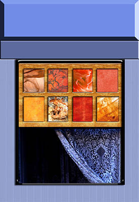 Abstract Window And Lace Curtain Print by Elaine Plesser