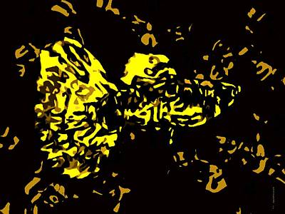 Under Water Digital Art - Abstract Yellow Fish  by Mario Perez